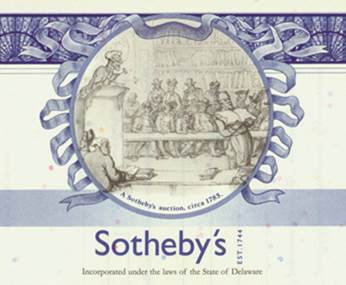Share Certificate of Sotheby's (Snippet)
