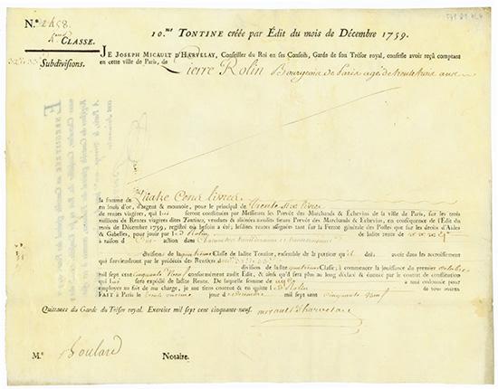 10.e Tontine créee par Édit du mois de Décembre 1759