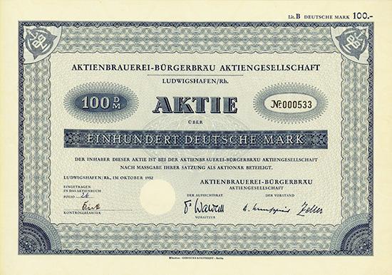 Aktienbrauerei-Bürgerbräu AG [2 Stück]