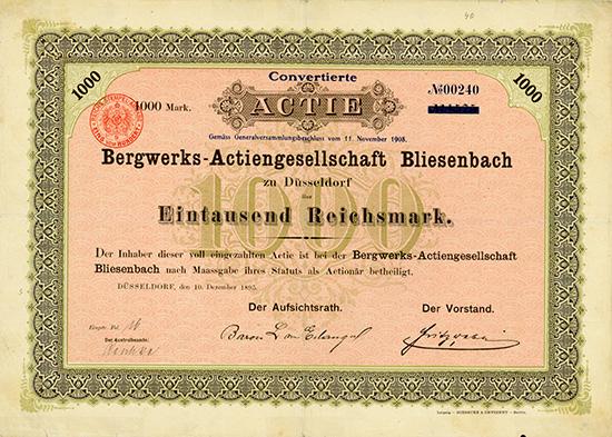 Bergwerks-AG Bliesenbach [2 Stück]