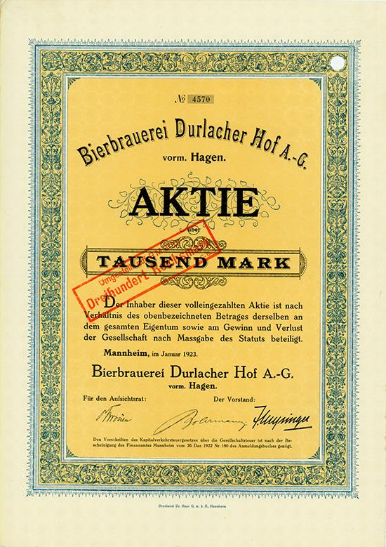 Bierbrauerei Durlacher Hof AG vorm. Hagen