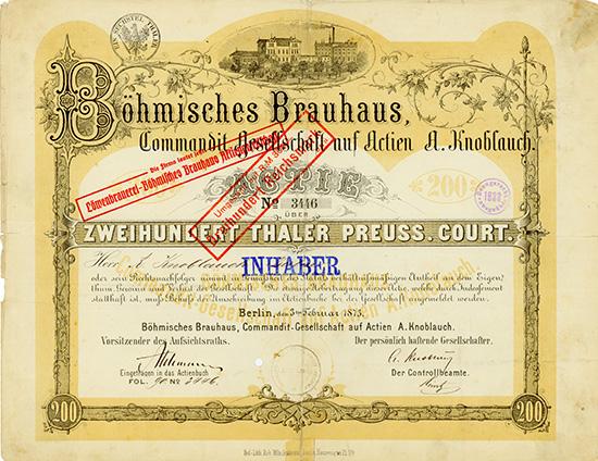 Böhmisches Brauhaus Commandit-Gesellschaft auf Actien A. Knoblauch
