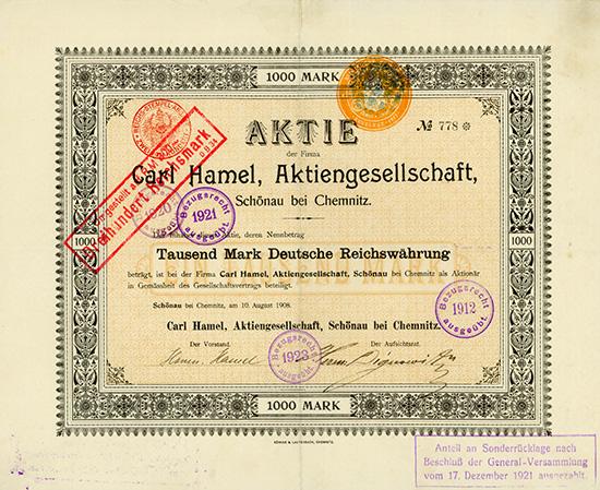 Carl Hamel, AG