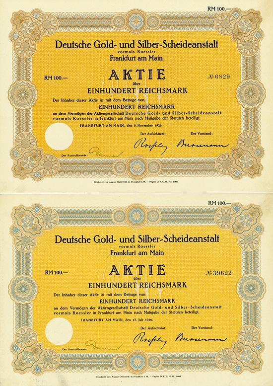 Deutsche Gold- und Silber-Scheideanstalt vormals Roessler [2 Stück]