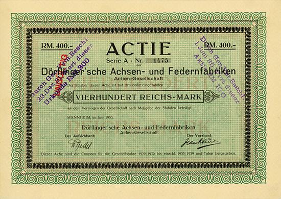 Dörflinger'sche Achsen- und Federnfabriken AG