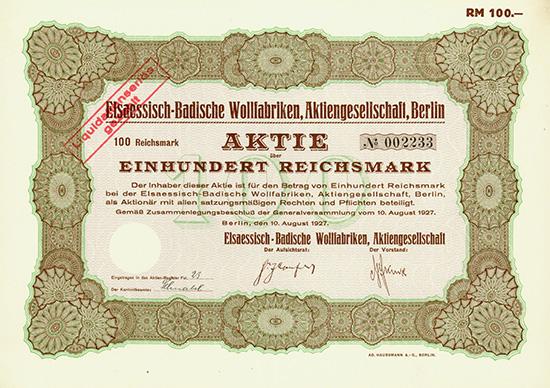 Elsaessisch-Badische Wollfabriken, AG