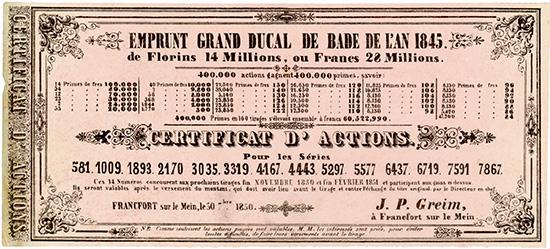 Emprunt Grand Ducal de Bade de l'an 1845