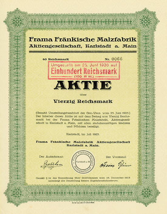 Frama Fränkische Malzfabrik AG Karlstadt a. Main