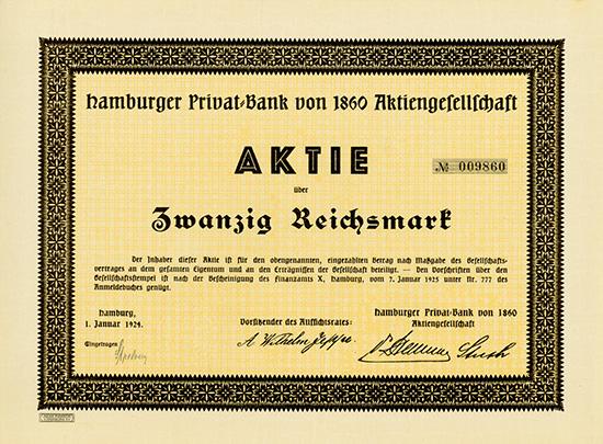 Hamburger Privat-Bank von 1860 AG [2 Stück]