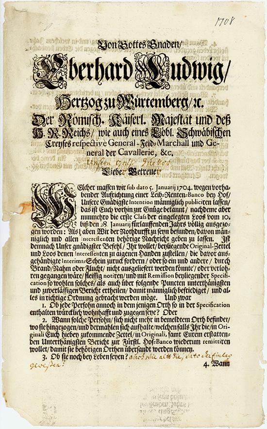 Herzog Eberhard Ludwig: Leib-Renten-Banco