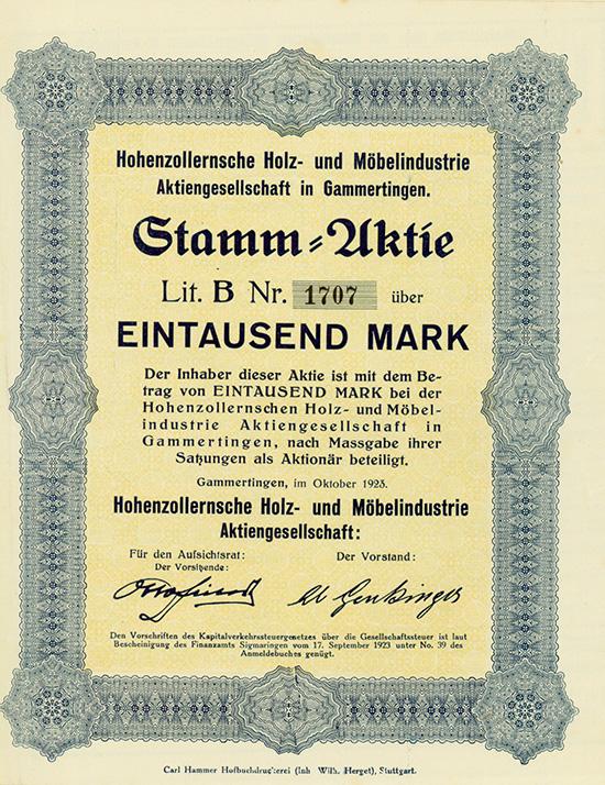 Hohenzollernsche Holz- und Möbelindustrie AG