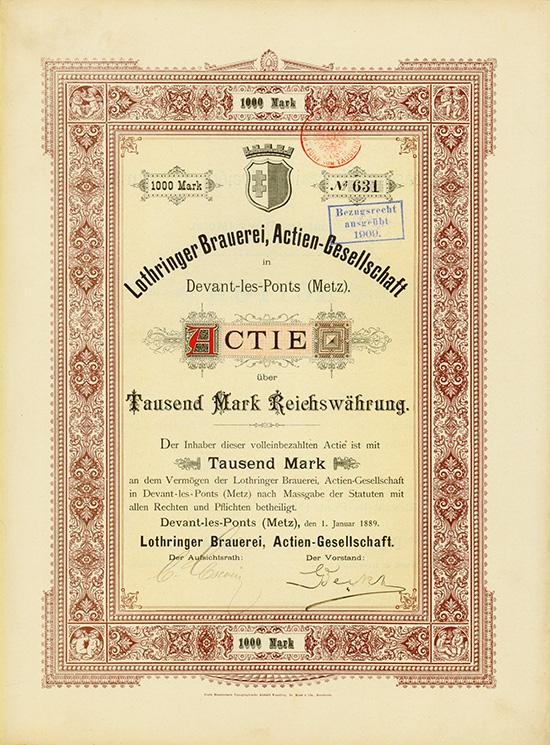 Lothringer Brauerei, Actien-Gesellschaft in Devant-les-Ponts (Metz)