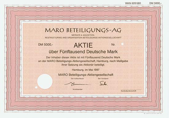 MARO Beteiligungs-AG Merger & Aquisition, Restructuring and Organisation Beteiligungs-AG