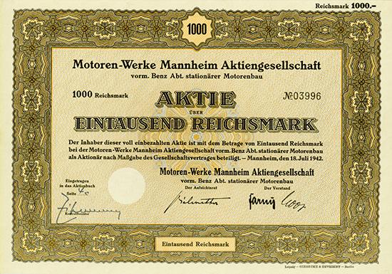 Motoren-Werke Mannheim AG vorm. Benz Abt. Stationärer Motorenbau