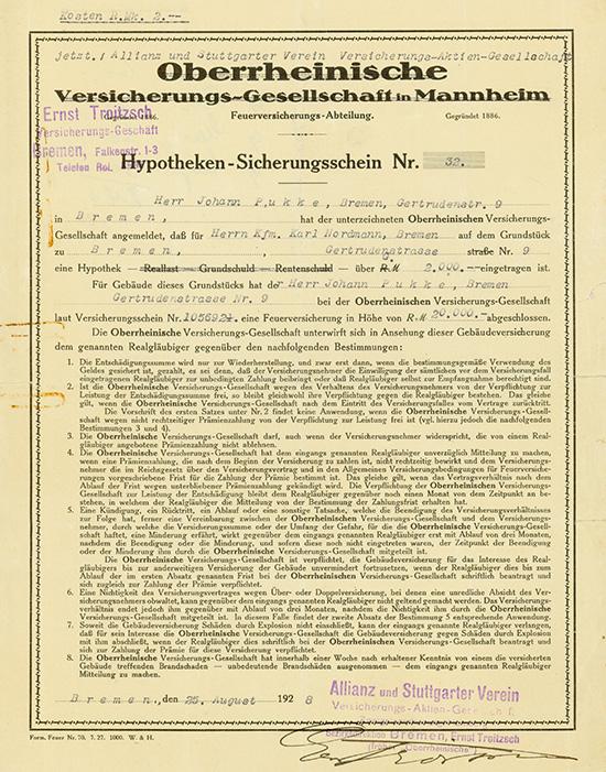 Oberrheinische Versicherungs-Gesellschaft in Mannheim (Allianz und Stuttgarter Verein Versicherungs-AG)