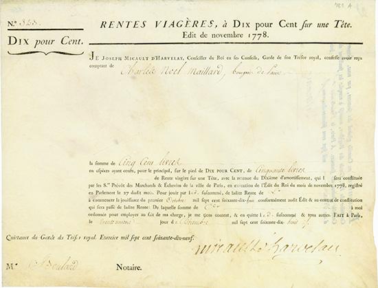 Rente Viagere - Edit de Novembre 1778