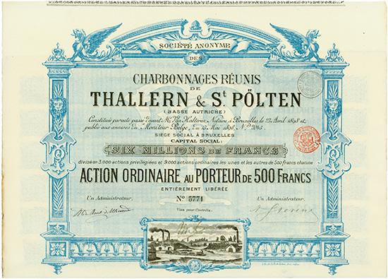 S.A. des Charbonnages Reunis de Thallern & St. Pölten (Basse Autriche)