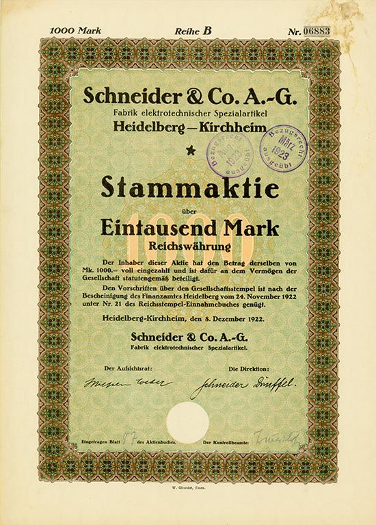 Schneider & Co. AG Fabrik elektrotechnischer Spezialartikel
