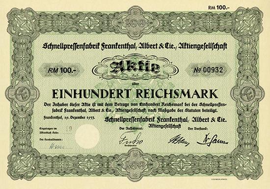 Schnellpressenfabrik Frankenthal, Albert & Cie. AG