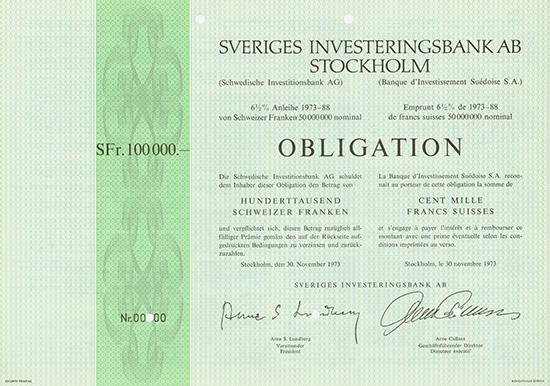 Sveriges Investeringsbank AB / Schwedische Investitionsbank AG / Banque d'Investissement Suedoise S.A.