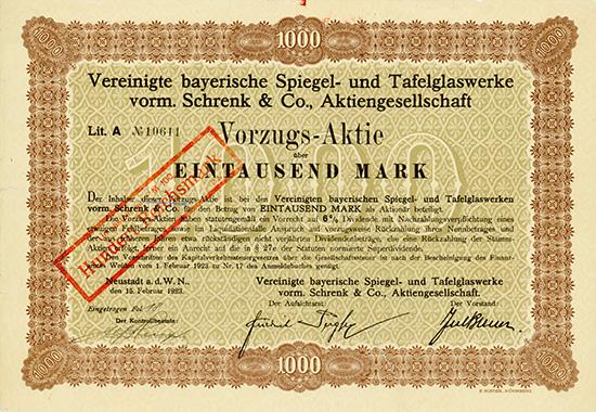 Vereinigte bayerische Spiegel- und Tafelglaswerke vorm. Schrenk & Co., AG