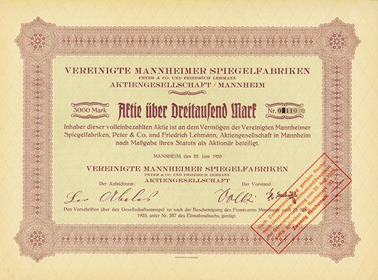 Vereinigte Mannheimer Spiegelfabriken Peter & Co. und Friedrich Lehmann AG