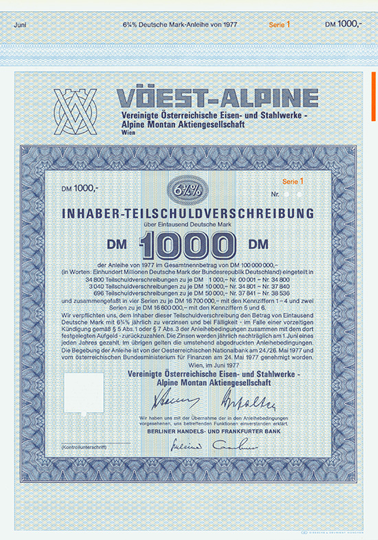 VÖEST-ALPINE Vereinigte Österreichische Eisen- und Stahlwerke - Alpine Montan AG
