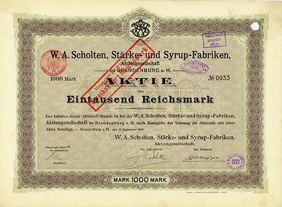 W. A. Scholten Stärke- und Syrup-Fabriken AG