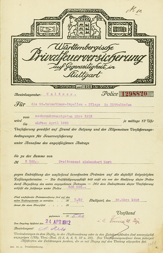 Württembergische Privatfeuerversicherung auf Gegenseitigkeit
