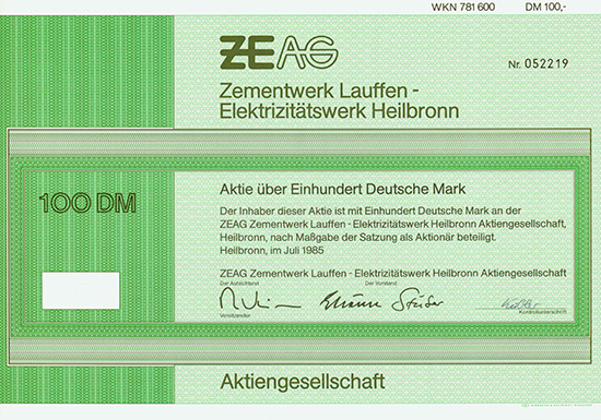 ZEAG Zementwerk Lauffen - Elektrizitätswerk Heilbronn AG