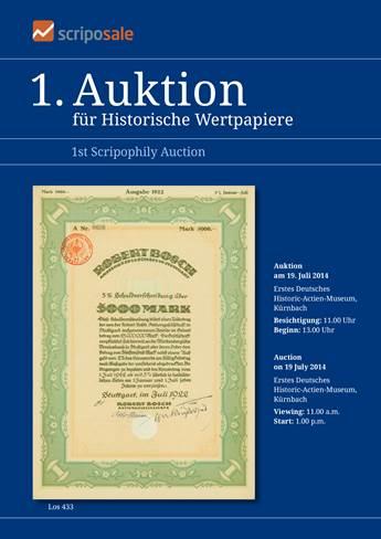 Cover Auktionskatalog 1. Auktion