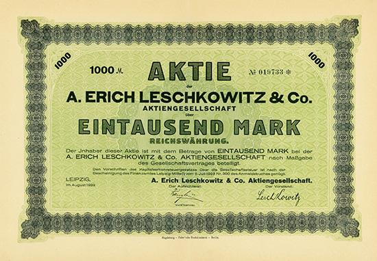 A. Erich Leschkowitz & Co. AG