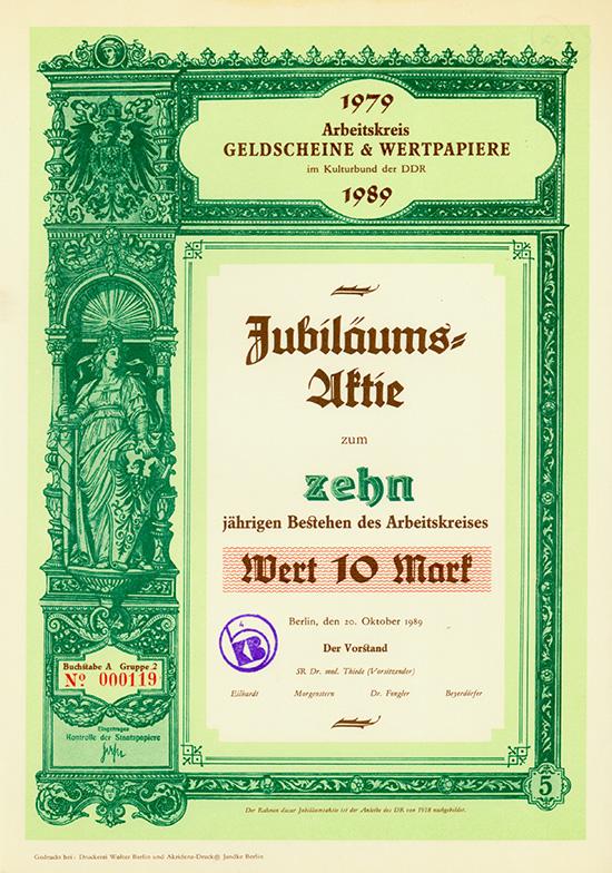 Arbeitskreis GELDSCHEINE & WERTPAPIERE im Kulturbund der DDR