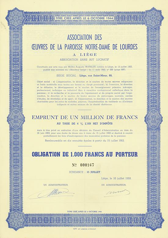 Association des Oeuvres de la Paroisse Notre-Dame de Lourdes