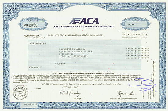 Atlantic Coast Airlines Holdings, Inc.