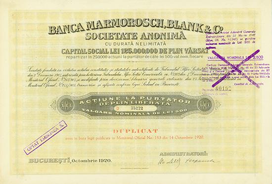 Banca Marmorosch, Blank & Co. S.A.