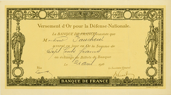Banque de France - Versement d'Or pour la Defense Nationale