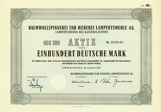 Baumwollspinnerei und Weberei Lampertsmühle AG [2 Stück]