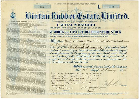 Bintan Rubber Estate, Limited