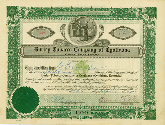 Burley Tobacco Company of Cynthiana