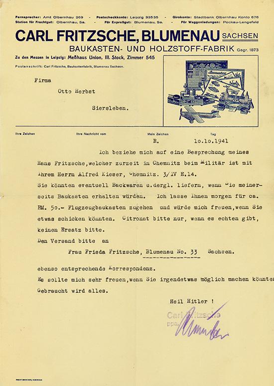 Carl Fritzsche, Blumenau, Baukasten- und Holzstoff-Fabrik