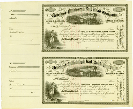 Cleveland and Pittsburgh Rail Road Company [2 Stück]