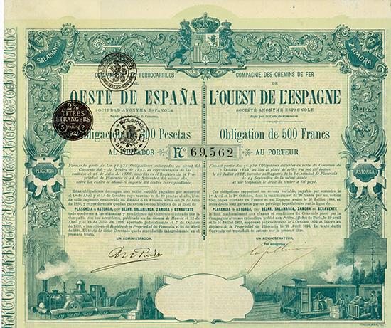 Compania de los Ferrocarriles del Oeste de Espana / Compagnie des Chemins de Fer de l'Ouest de l'Espagne