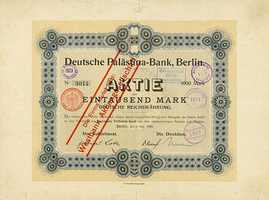 Deutsche Palästina-Bank [2 Stück]