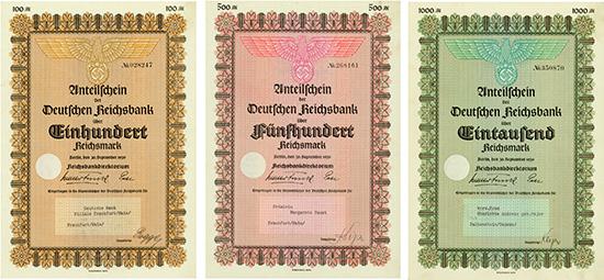 Deutsche Reichsbank [3 Stück]