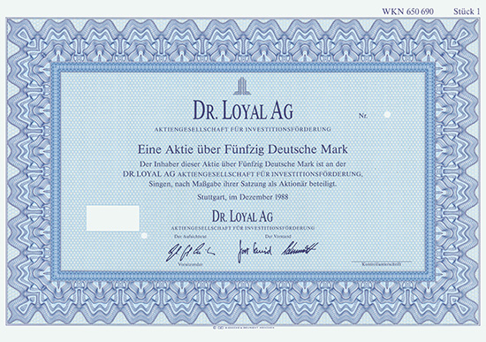 Dr. Loyal AG Aktiengesellschaft für Investitionsförderung