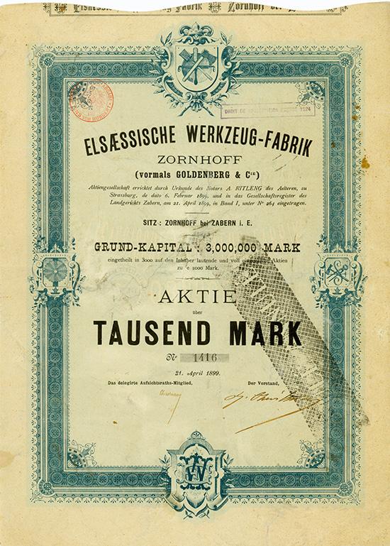 Elsässische Werkzeug-Fabrik Zornhoff (vorm. Goldenberg & Cie.) AG