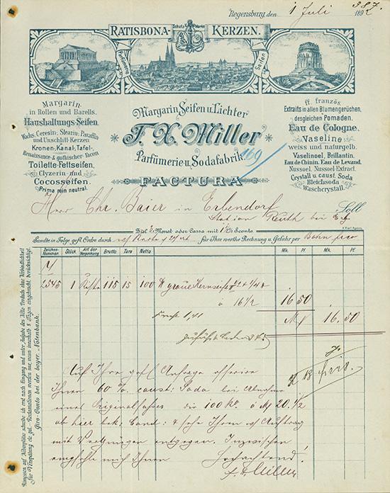 F. X. Miller, Margarin Seifen u. Lichter, Parfümerie- und Sodafabrik