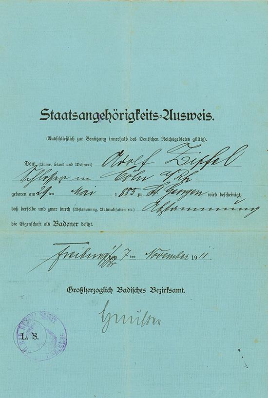 Freiburg: Staatsangehörigkeits-Ausweis des Badeners Adolf Zipfel