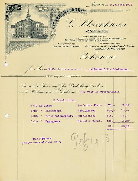 G. Klevenhusen, Cigarren-Fabrik